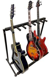 MyGift 7 Guitar Black Metal Padded Folding Stand